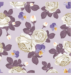 retro floral seamless pattern white roses with vector image vector image