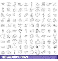 100 award icons set outline style vector image
