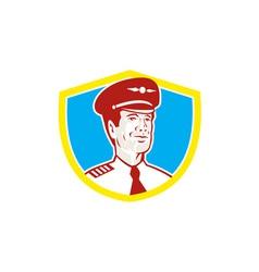 Aircraft pilot aviator shield retro vector