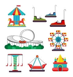 Amusement Park Ride Set of Attractions vector image