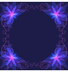 Decorative ornamental frame with blue flower vector image