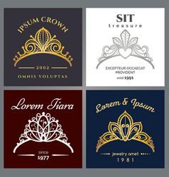 Tiara luxury logo set vector