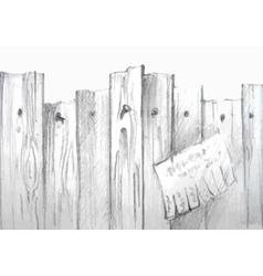 watercolor wooden fence vector image