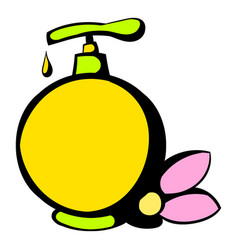 yellow plastic bottle with liquid soap icon vector image