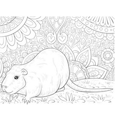 Adult coloring bookpage a cute otter on the vector