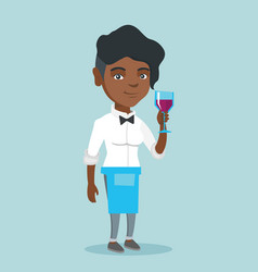 african-american waitress holding a glass of wine vector image