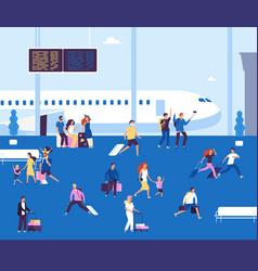 Airport terminal indoor couples tourists vector