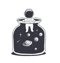 an astronaut is in a jar with space vector image