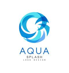 Aqua splash logo design brand identity template vector