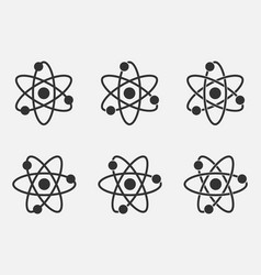 Atom icon set nuclear icon electrons and protons vector