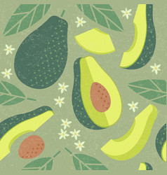 avocado seamless pattern leaves flowers vector image