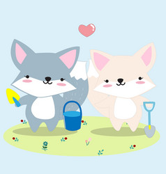 baby fox gardening with friend vector image