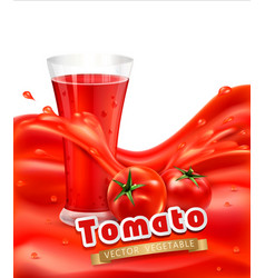 background with a glass tomato juice tomato vector image