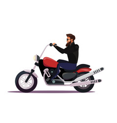 Biker on motorcycle flat vector