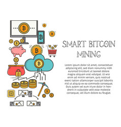 bitcoin blockchain concept for web page banner vector image
