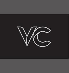Black and white alphabet letter vc v c logo vector