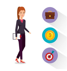 Businesswoman with business set icons vector
