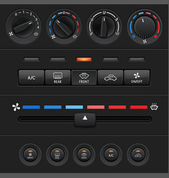 Car dashboard elements with black push buttons and vector