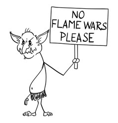 Cartoon internet troll online virtual hater vector