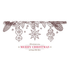 christmas sketch banner drawing merry card vector image