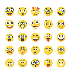 Collection of flat icons smileys vector