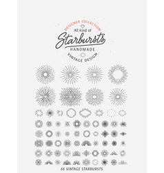 collection trendy hand drawn retro sunburst bu vector image