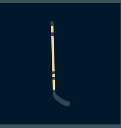Color icon wooden hockey stick ice field vector