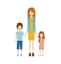 color silhouette with kids and mom with dress and vector image