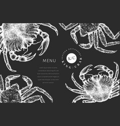 crab design template hand drawn seafood on chalk vector image