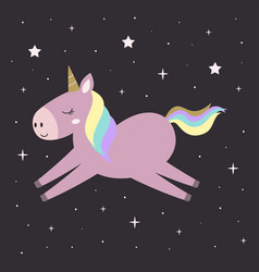 cute unicorn with stars in sky vector image