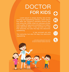 doctor woman and cute kids background poster vector image