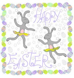 easter rabbits with easter eggs and banners vector image