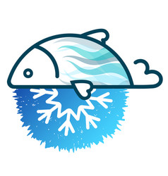 Fish frozen fresh symbol vector