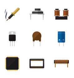 flat icon technology set of coil copper vector image