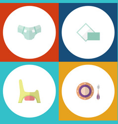 flat infant set of toilet napkin nappy and other vector image