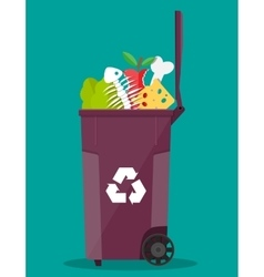Garbage bin container full junk food vector