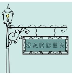 garden retro vintage street sign vector image