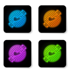 glowing neon barbecue grill with steak icon vector image