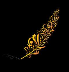 Golden graffiti quill pen vector