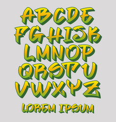 Graffiti font 3d - hand written - alphabet vector