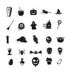 halloween party icon set simple style vector image
