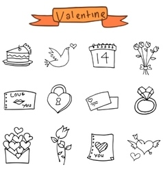 Hand draw element valentine icons vector image