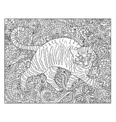 hand drawn cat against floral pattern vector image