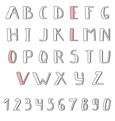 Hand drawn cute alphabet Comic Cartoon Font vector image