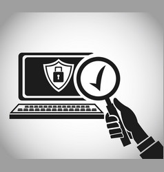 Hand hold search computer check security vector