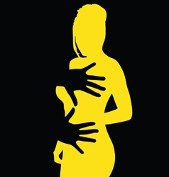 Hand on the yellow girl vector