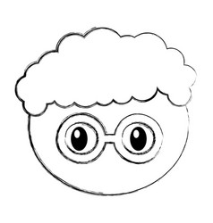 head boy with glasses expression vector image