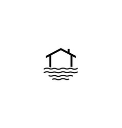 Home or house on water or sea simple line logo vector