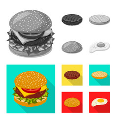 Isolated object of burger and sandwich logo set vector