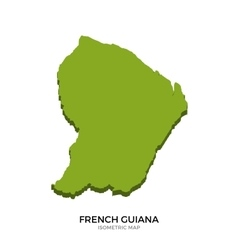 Isometric map of French Guiana detailed vector